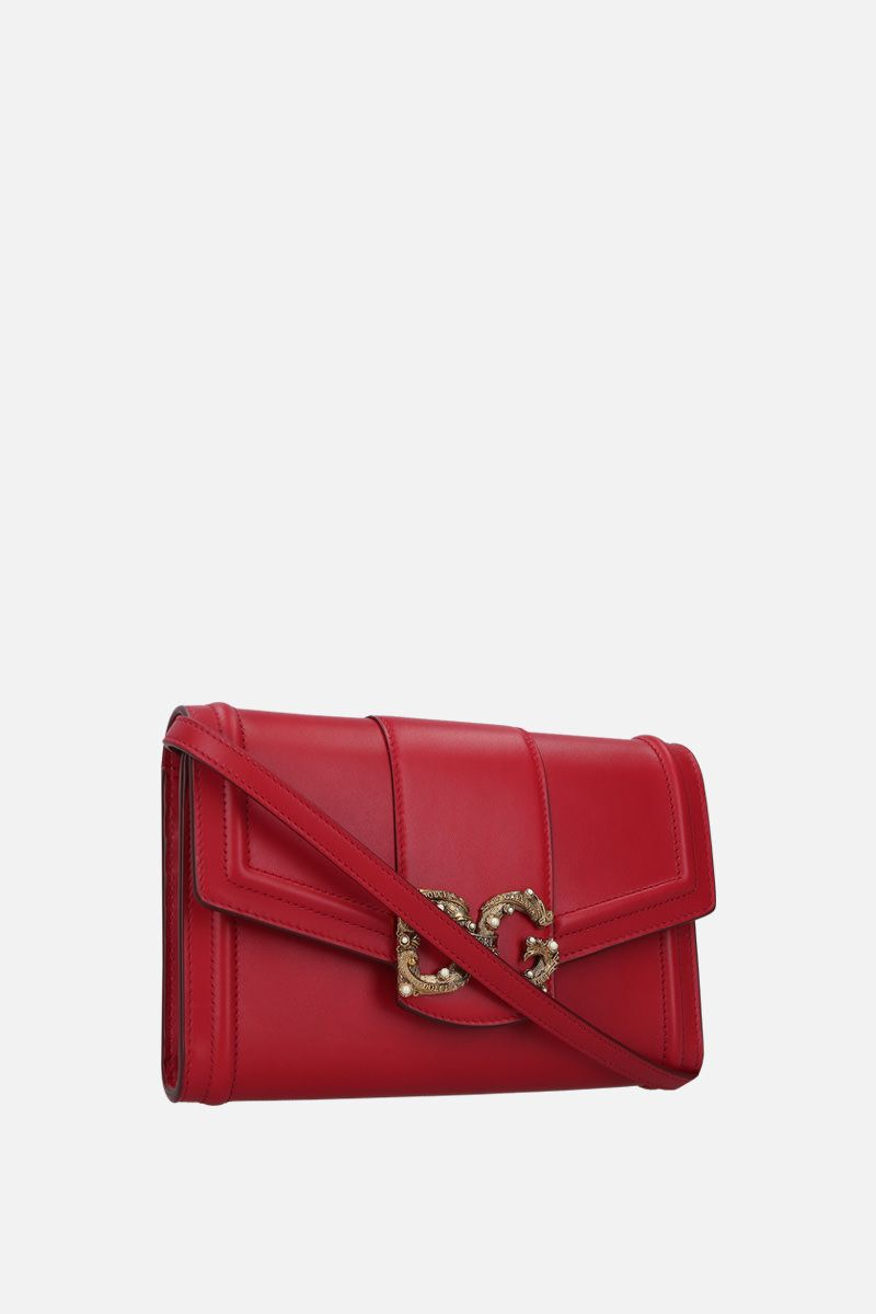 DOLCE & GABBANA: DG Amore smooth leather strap wallet Color Red_2