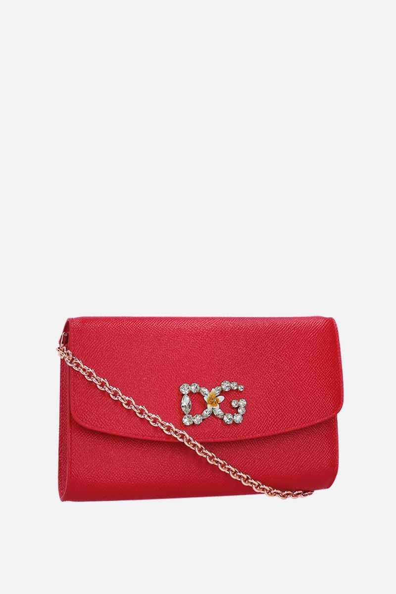 DOLCE & GABBANA: Dauphine leather chain wallet Color Red_2