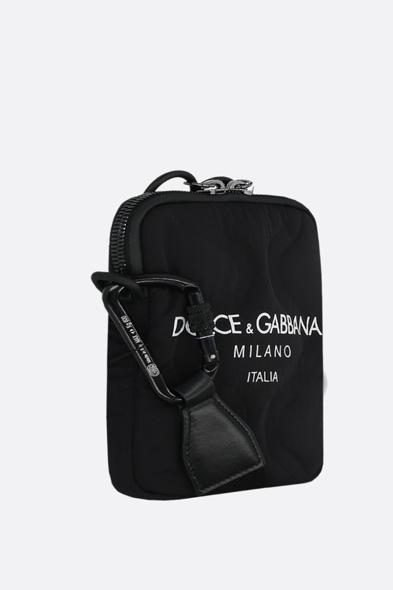 DOLCE & GABBANA: logo print nylon crossbody bag Color Black_2