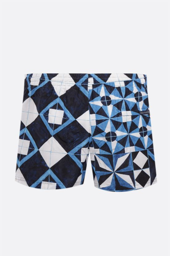 DOLCE & GABBANA: Majolica print nylon swim shorts Color Blue_2