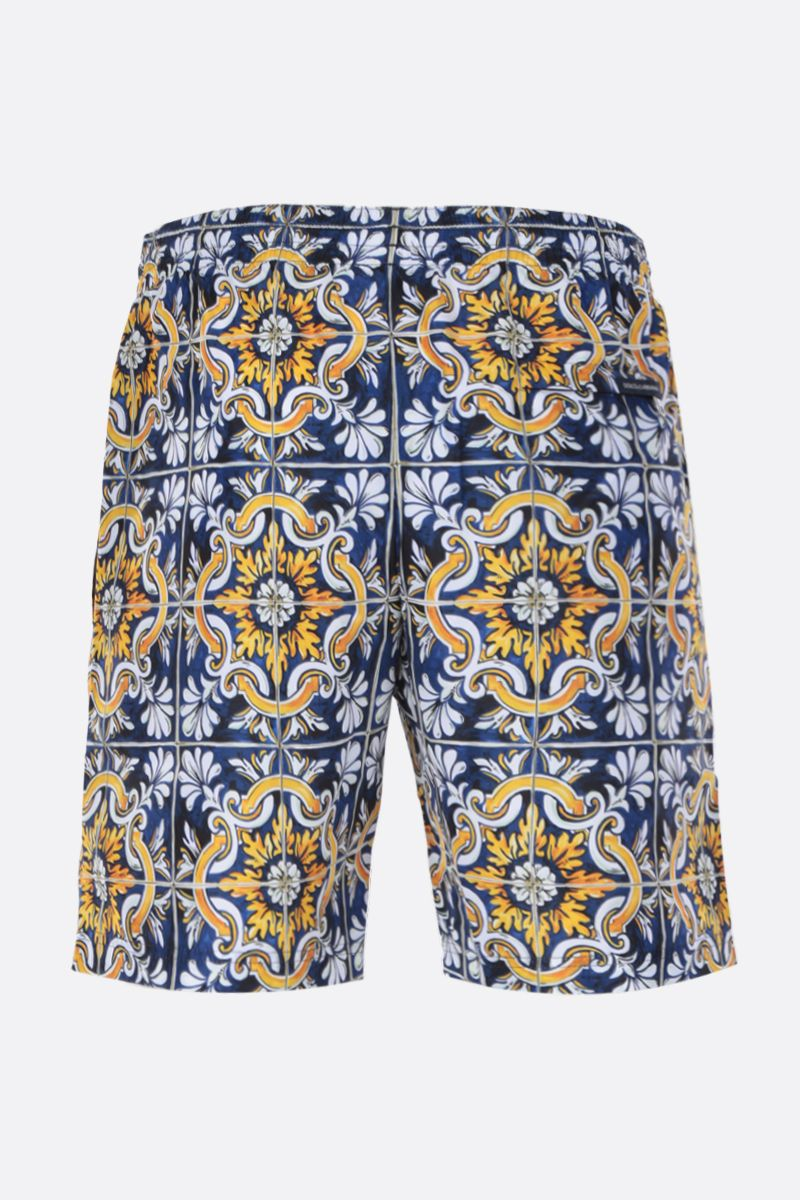 DOLCE & GABBANA: maiolica print nylon swim shorts Color Multicolor_2
