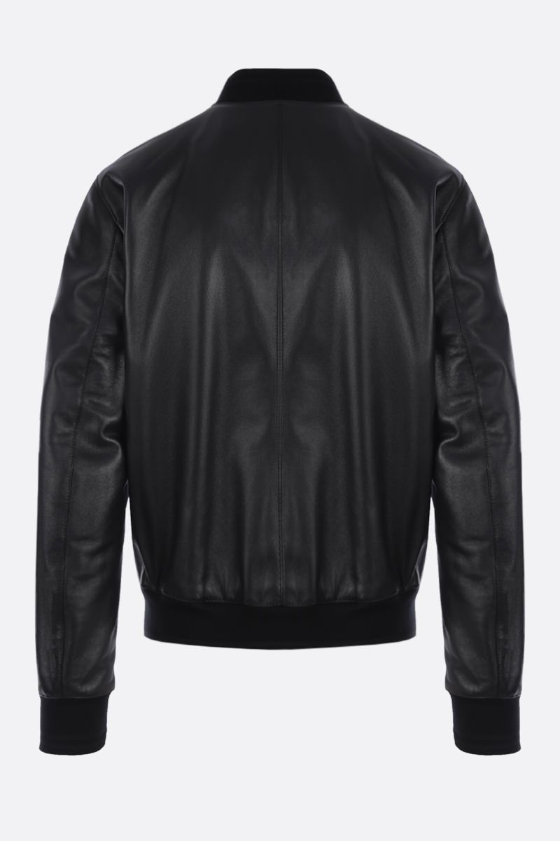 DOLCE & GABBANA: logo-detailed nappa bomber jacket Color Black_2