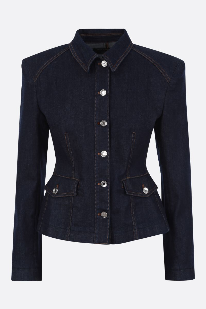DOLCE & GABBANA: stretch denim tailored jacket Color Blue_1