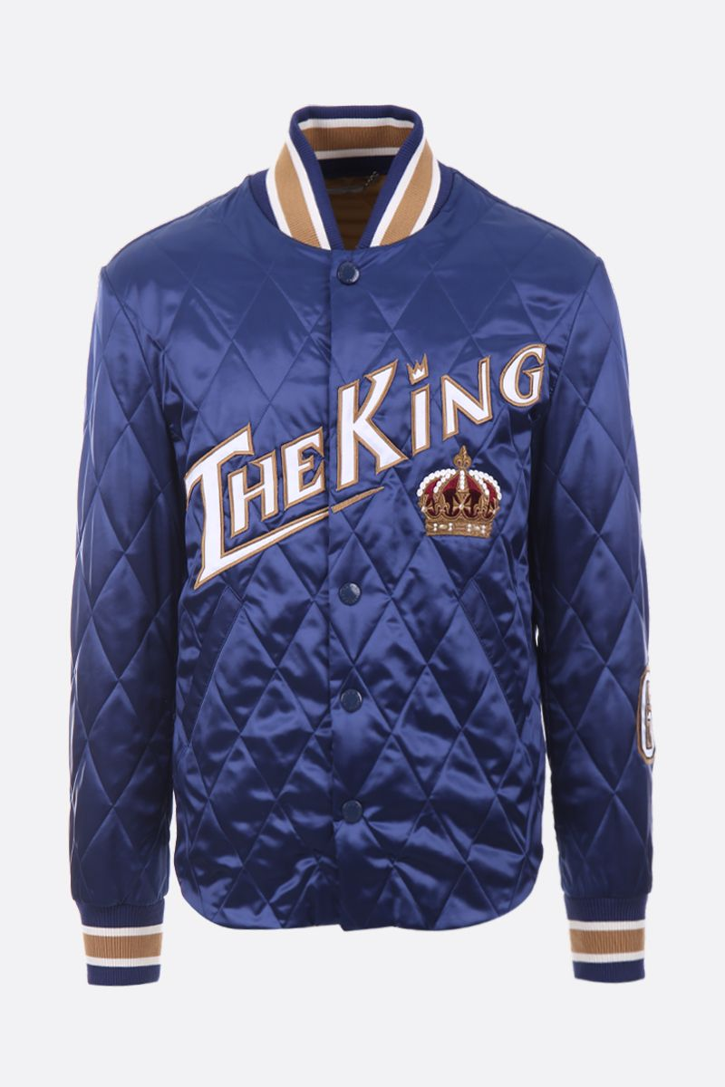 DOLCE & GABBANA: The King patch quilted satin bomber jacket Color Blue_1