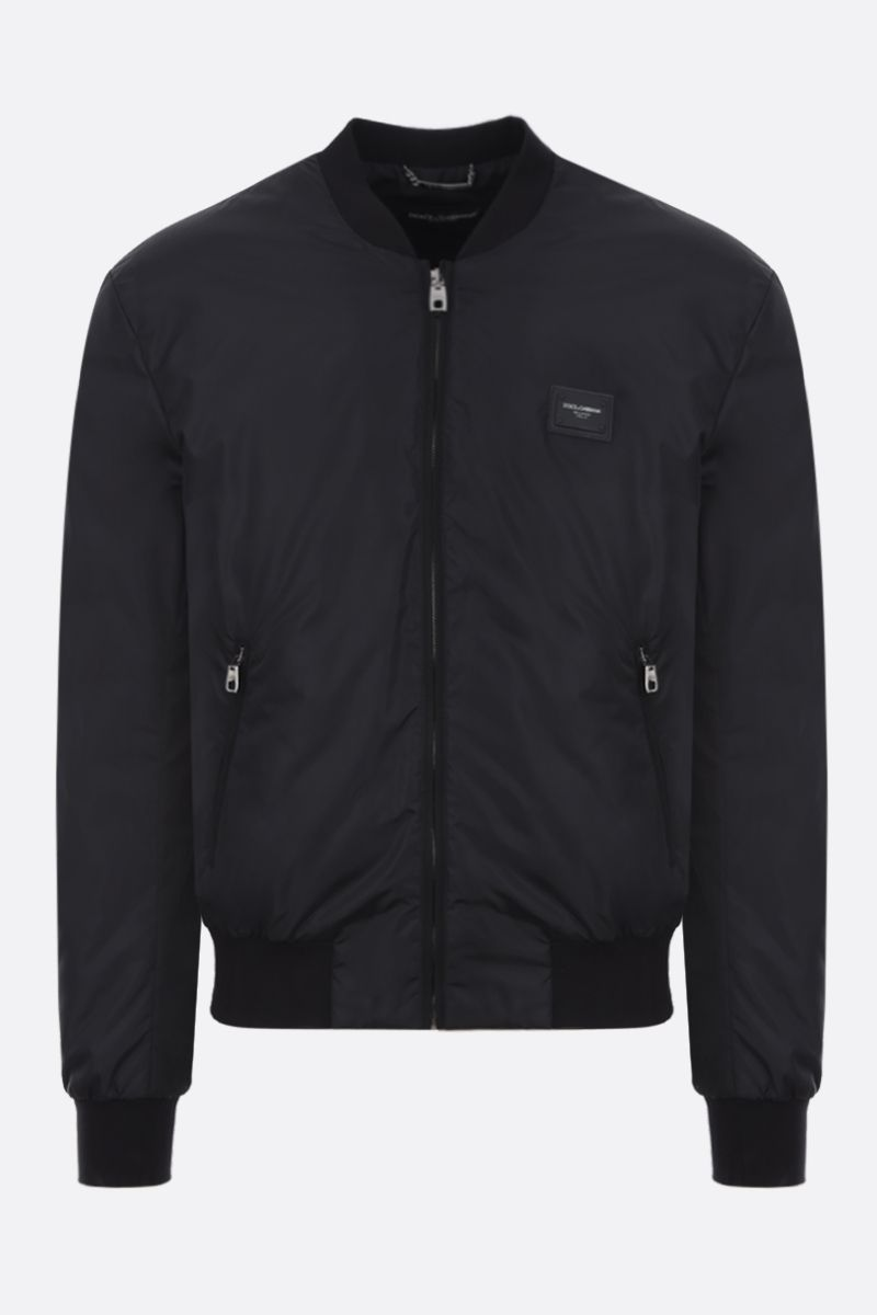 DOLCE & GABBANA: logo-detailed nylon padded bomber jacket Color Black_1