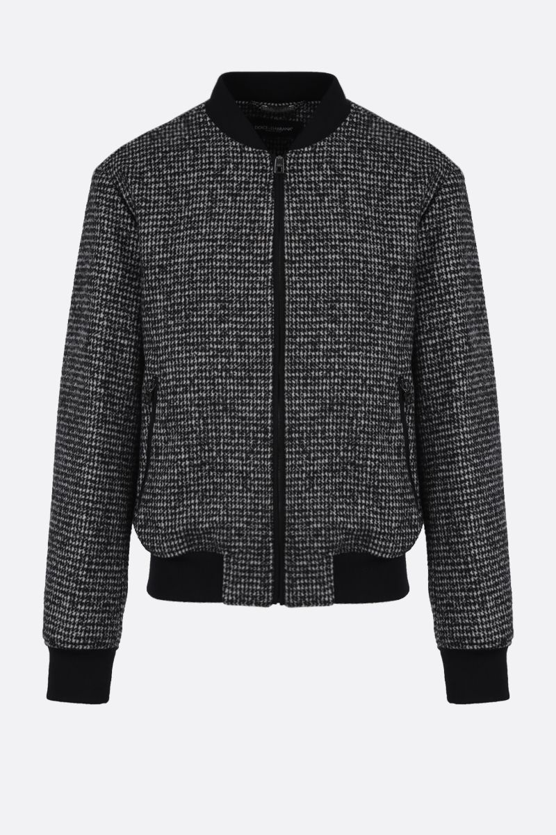 DOLCE & GABBANA: houndstooth wool blend bomber jacket Color Black_1