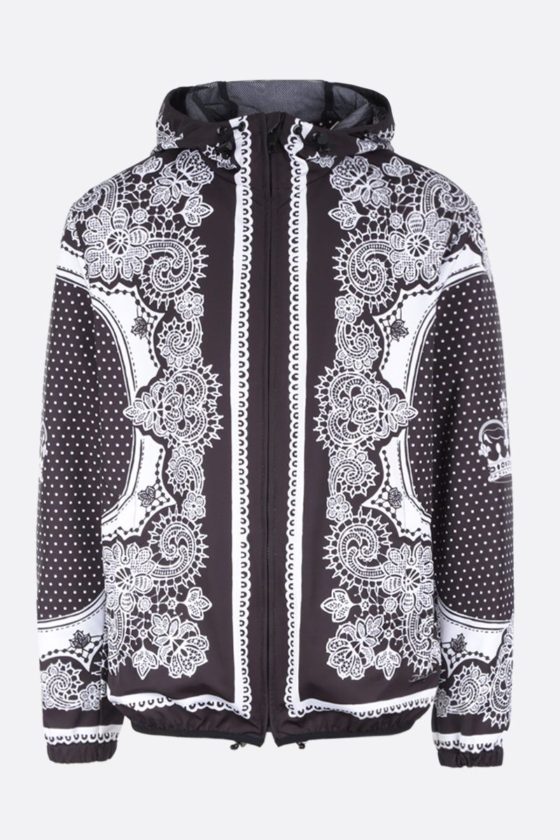 DOLCE & GABBANA: Bandana print nylon windbreaker Color Black_1