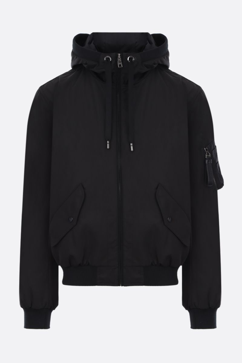 DOLCE & GABBANA: Heritage print nylon full-zip padded jacket Color Black_1