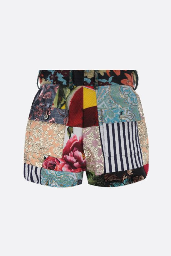 DOLCE & GABBANA: patchwork brocade and jacquard shorts Color Multicolor_2