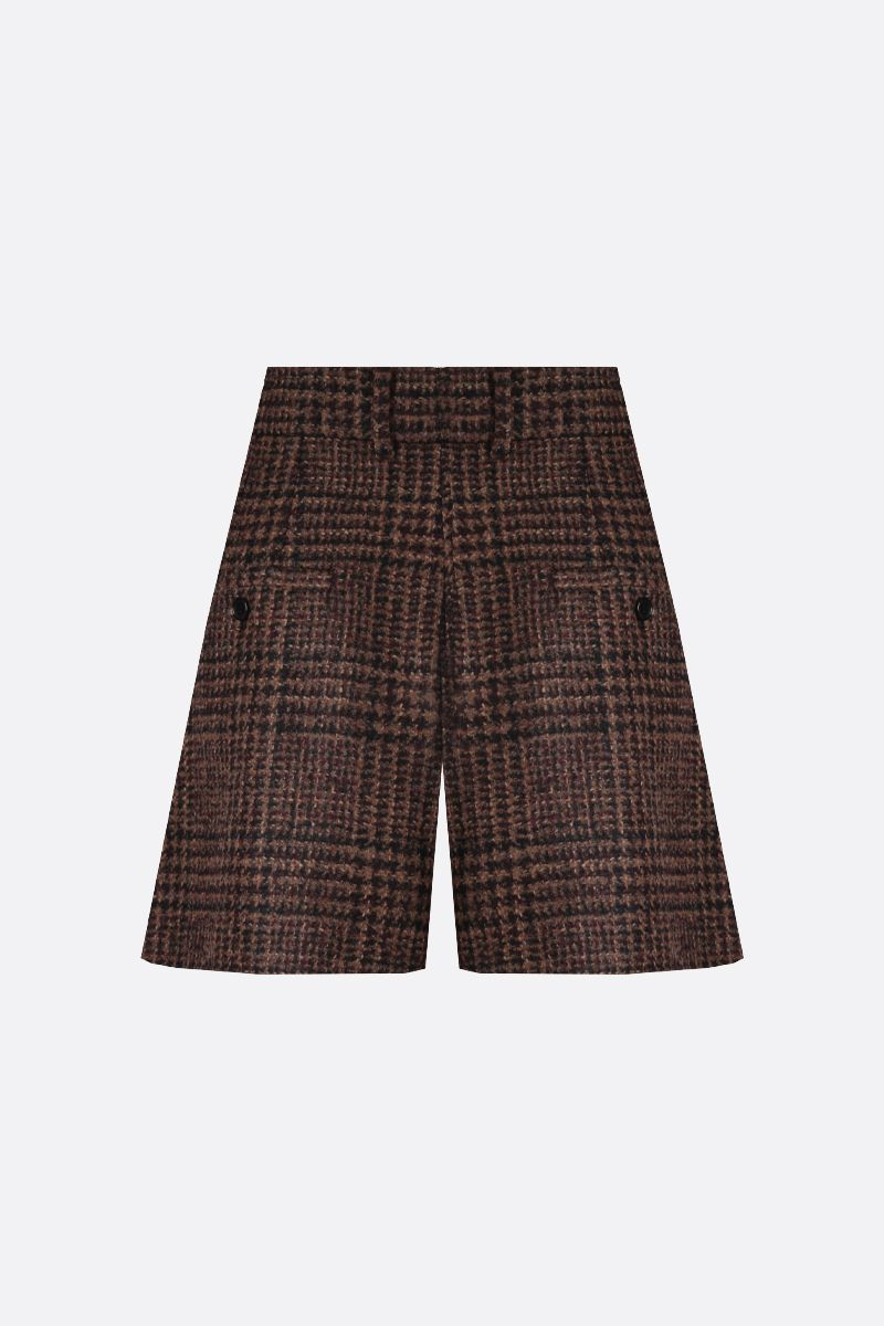 DOLCE & GABBANA: houndstooth-motif wool blend darted shorts Color Multicolor_2