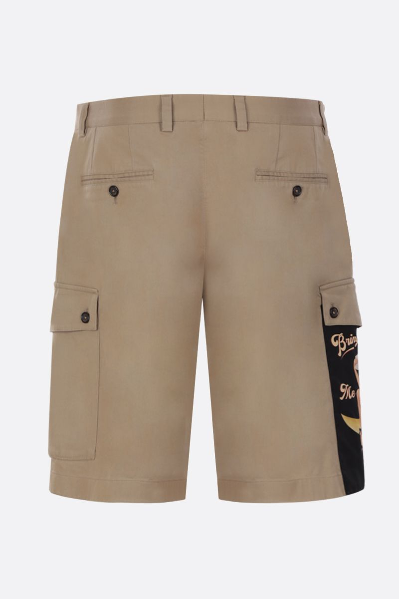 DOLCE & GABBANA: Pin-Up print cotton cargo shorts Color Neutral_2