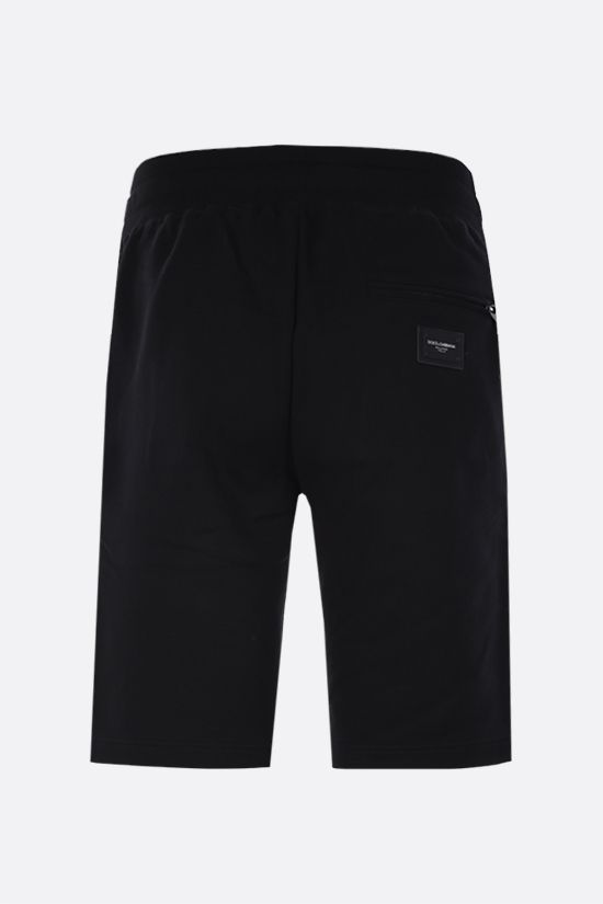 DOLCE & GABBANA: logo plaque-detailed cotton shorts Color Black_2