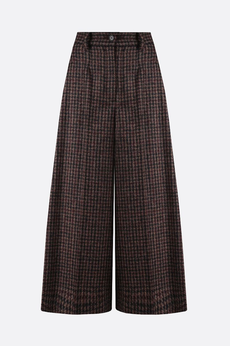 DOLCE & GABBANA: houndstooth-motif wool blend culottes pants Color Brown_1
