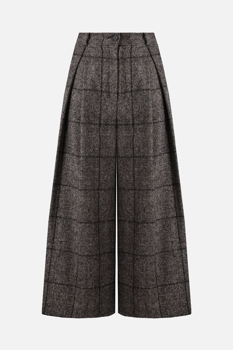 DOLCE & GABBANA: prince of Wales-motif alpaca blend culottes pants Color Grey_1