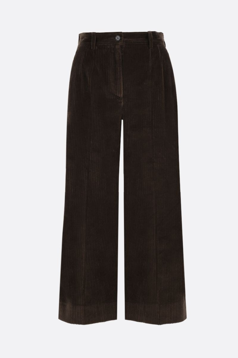 DOLCE & GABBANA: ribbed velvet culotte pants Color Brown_1