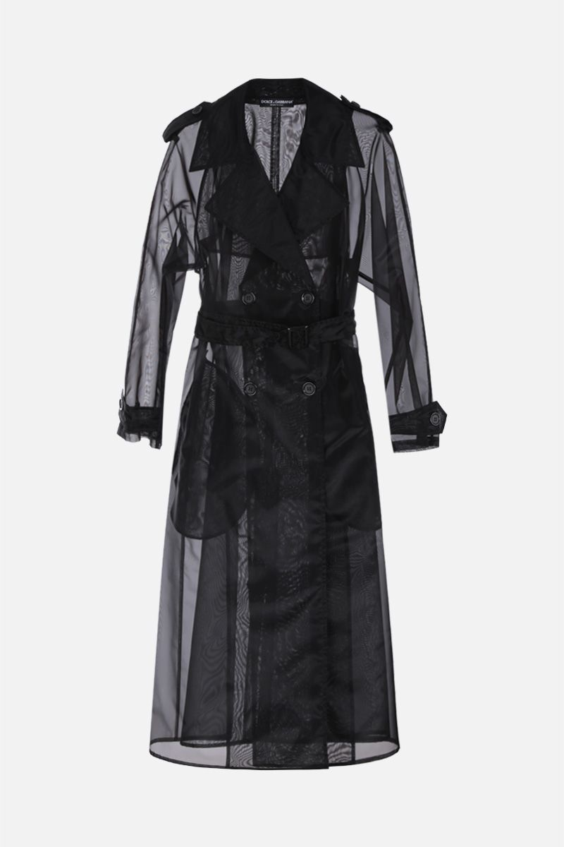 DOLCE & GABBANA: organdy double-breasted trench coat Color Black_1
