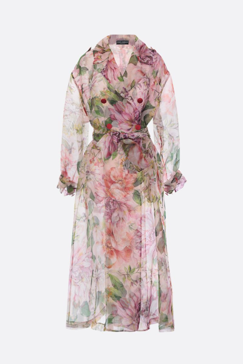 DOLCE & GABBANA: floral print organdy double-breasted trench coat_1