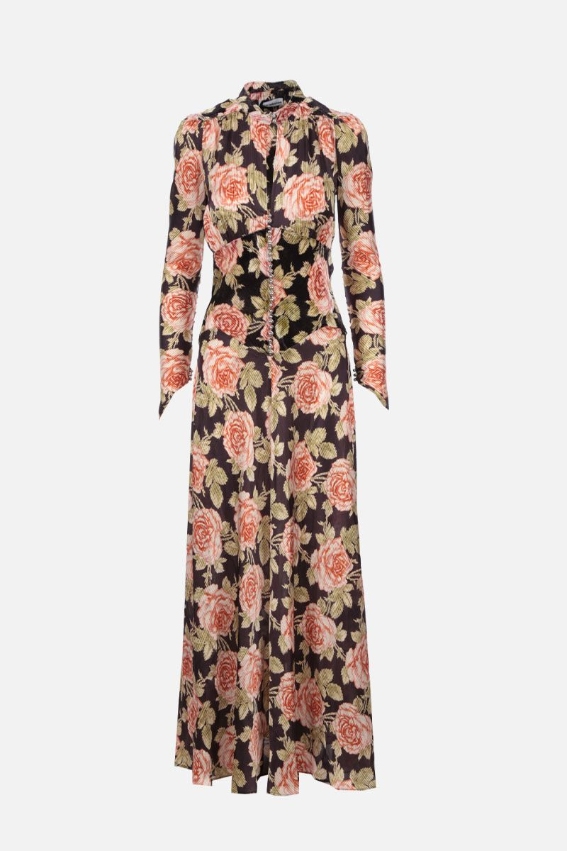 PACO RABANNE: floral-motif satin and velvet long dress_2