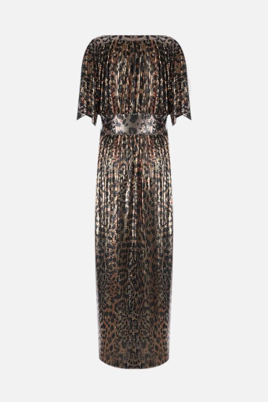 PACO RABANNE: leopard print metal mesh robe dress Color Animalier_2