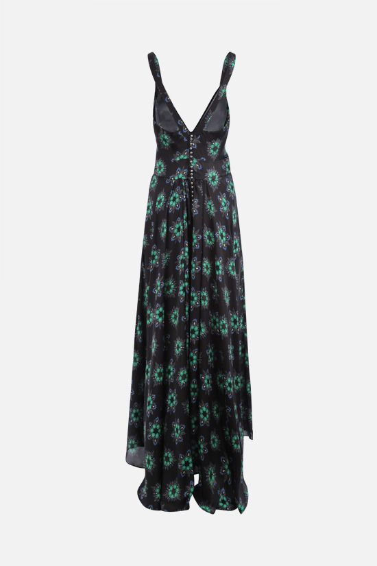 PACO RABANNE: floral print satin long dress Color Black_2