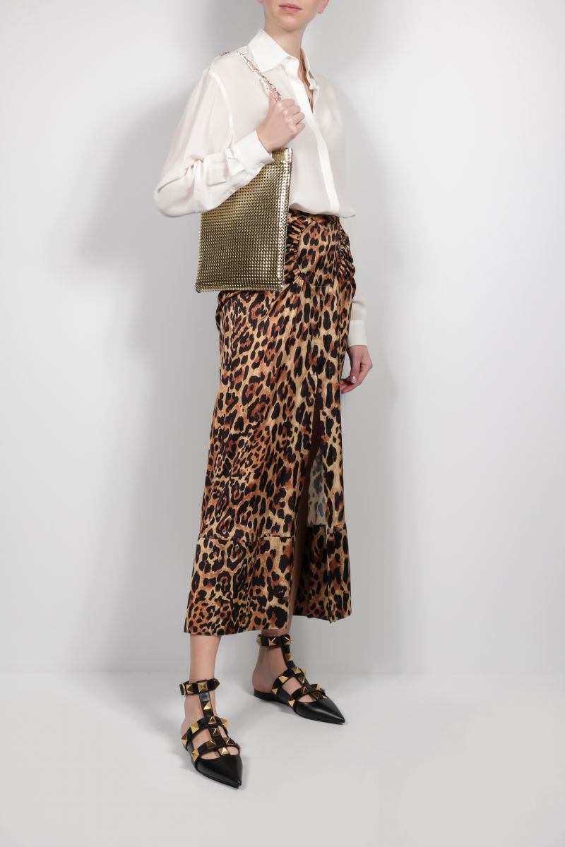 PACO RABANNE: leopard print satin long skirt Color Animalier_2