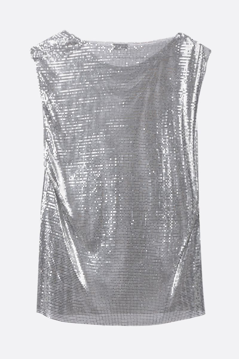 PACO RABANNE: metal mesh sleeveless top Color Silver_2