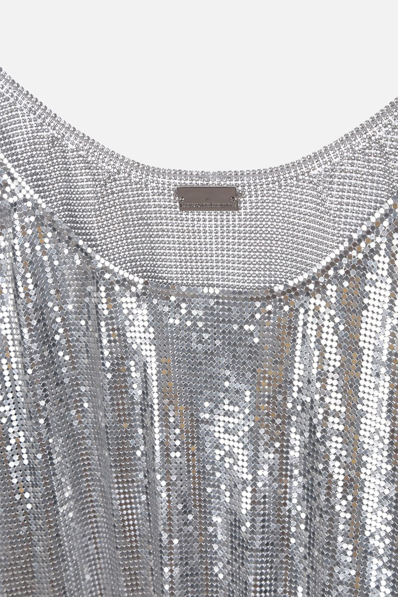 PACO RABANNE: metal mesh tank top Color Silver_3