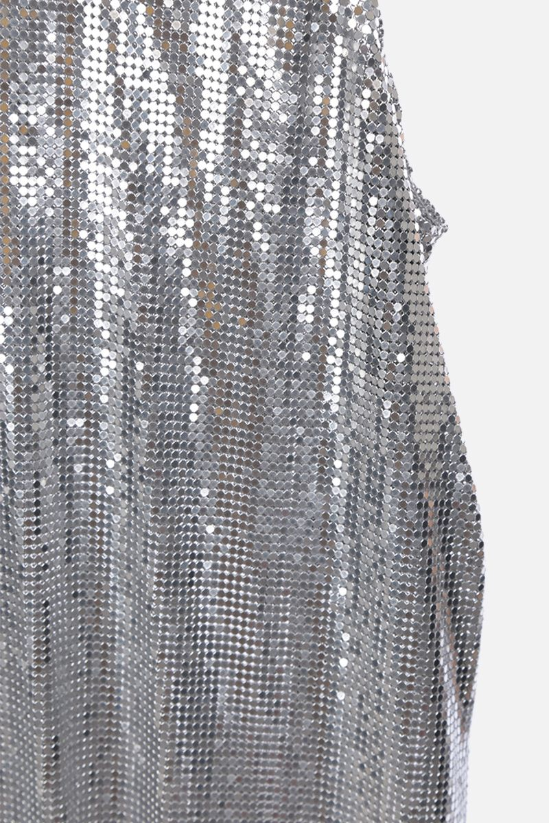 PACO RABANNE: metal mesh tank top Color Silver_4
