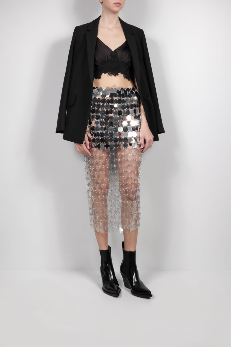 PACO RABANNE: lace-detailed satin cropped top Color Black_2