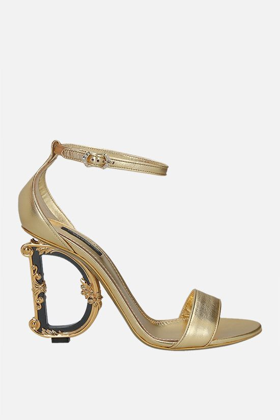 DOLCE & GABBANA: Keira laminated nappa sandals Color Gold_1