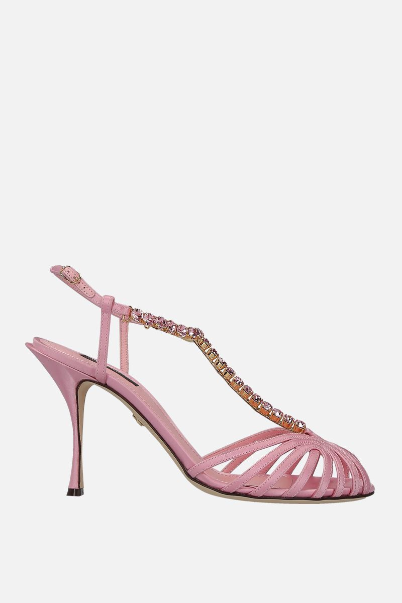 DOLCE & GABBANA: Bette sandals in crystal-embellished satin Color Pink_1