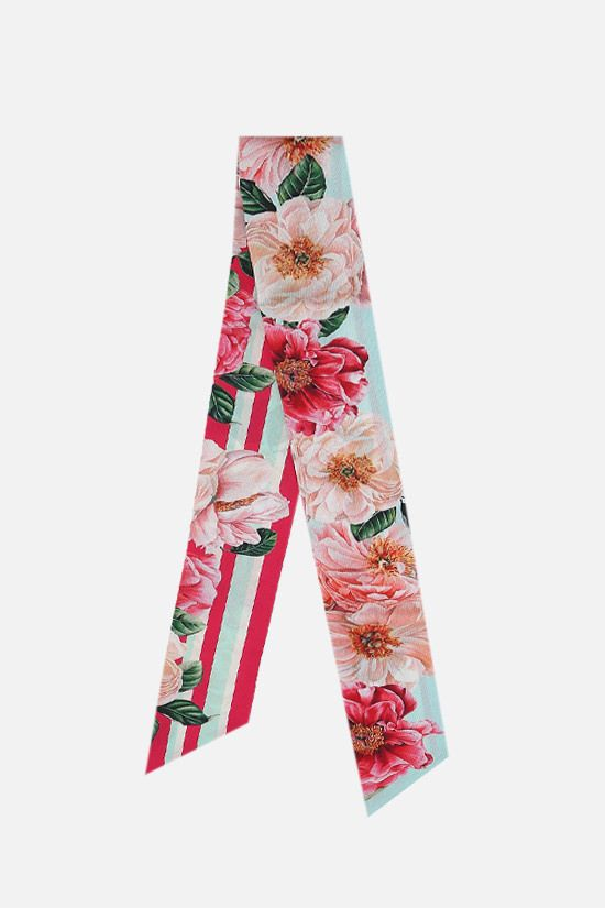 DOLCE & GABBANA: Camellia print silk neck bow Color Pink_1