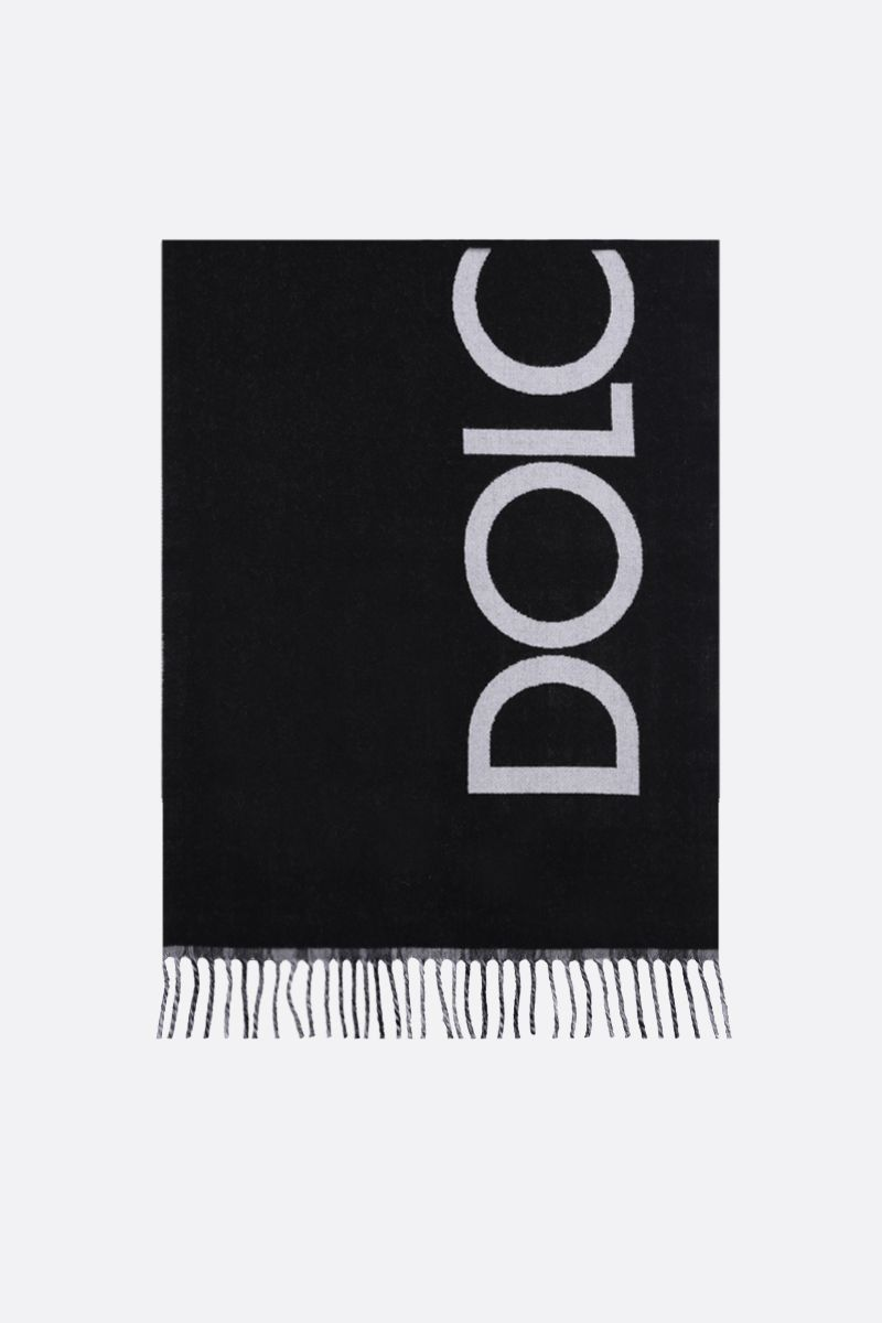 DOLCE & GABBANA: wool cashmere blend reversible scarf Color Black_1