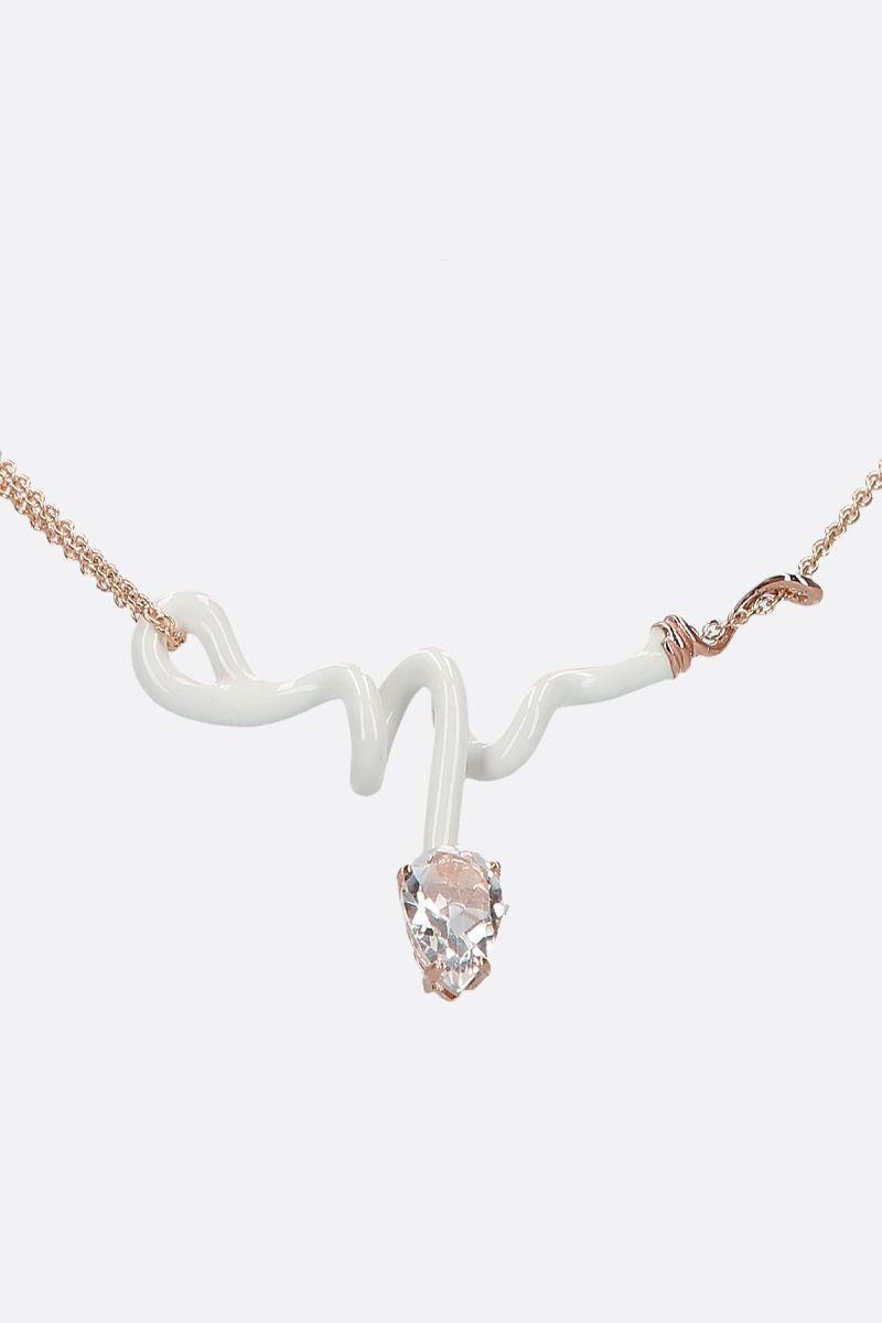 BEA BONGIASCA: Vine rose gold necklace Color White_2