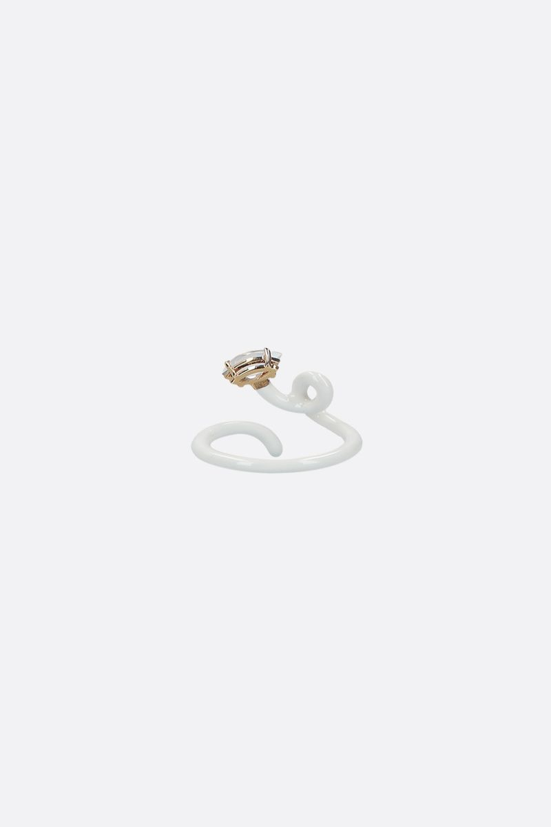BEA BONGIASCA: Baby Vine enameled yellow gold tendril ring Color White_2