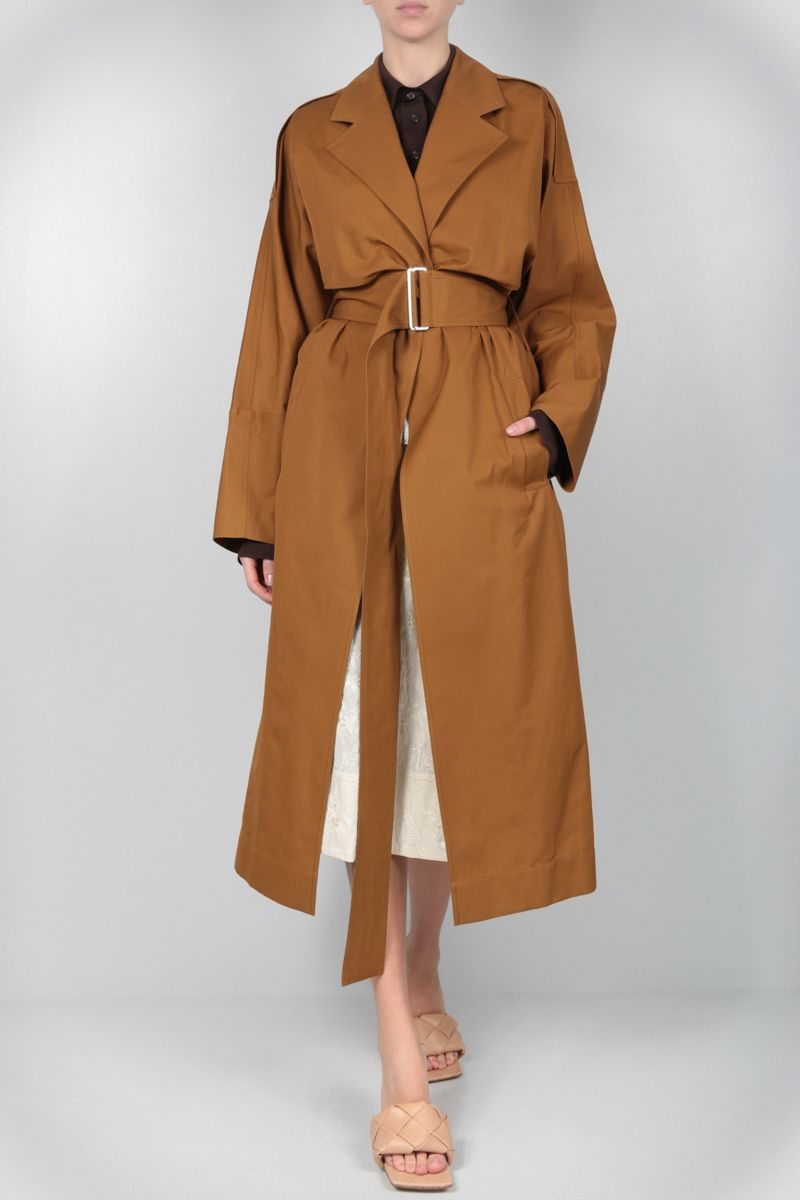 VICTORIA BECKHAM: technical cotton wrap trench coat Color Yellow_2