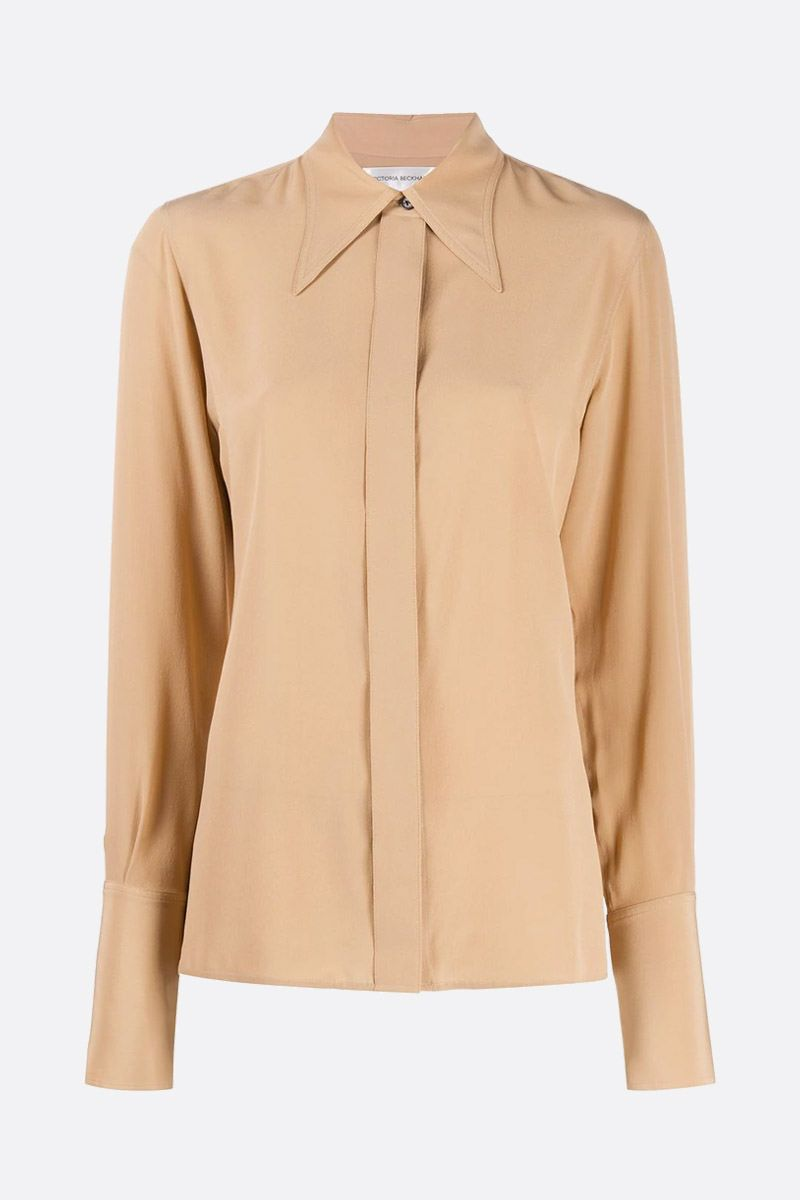 VICTORIA BECKHAM: camicia in crepe de chine Colore Neutro_1