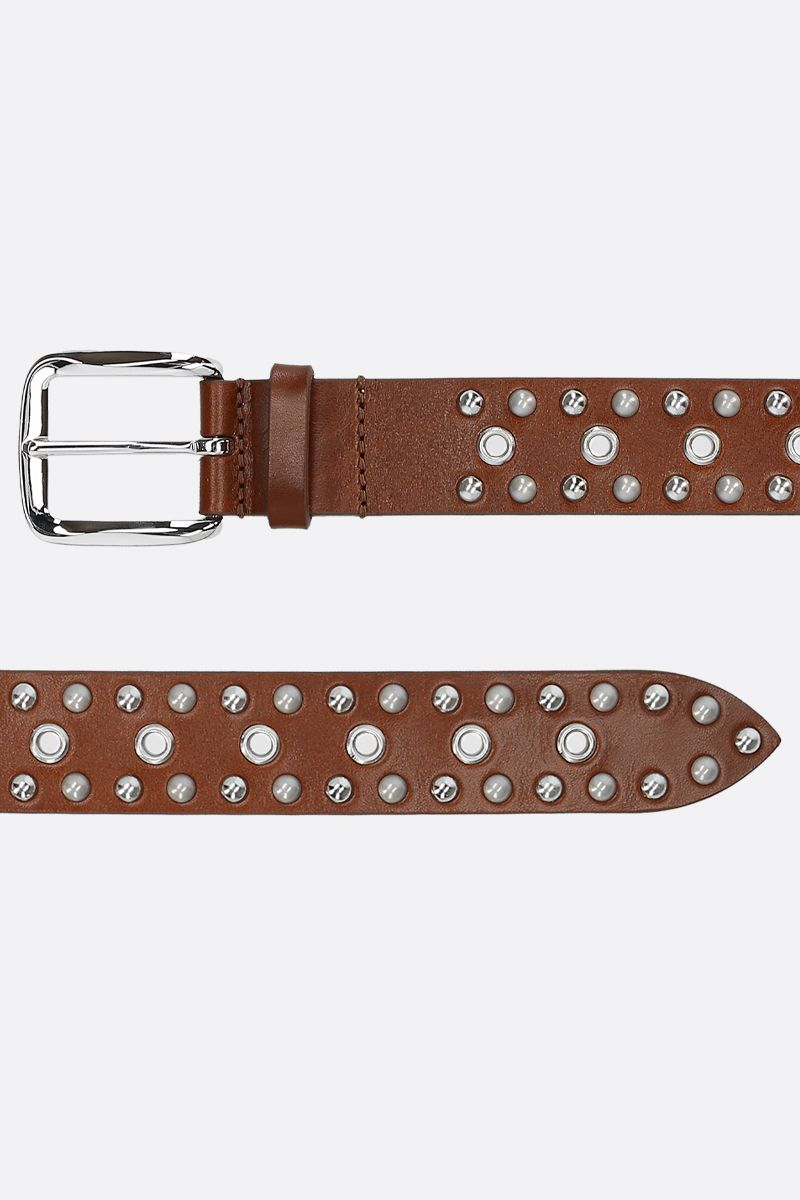 ISABEL MARANT: Rica belt in studded smooth leather Color Brown_2