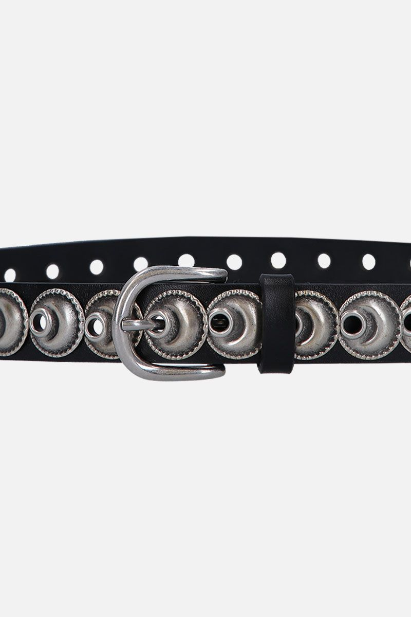 ISABEL MARANT: Zappi belt in studded smooth leather Color Black_3