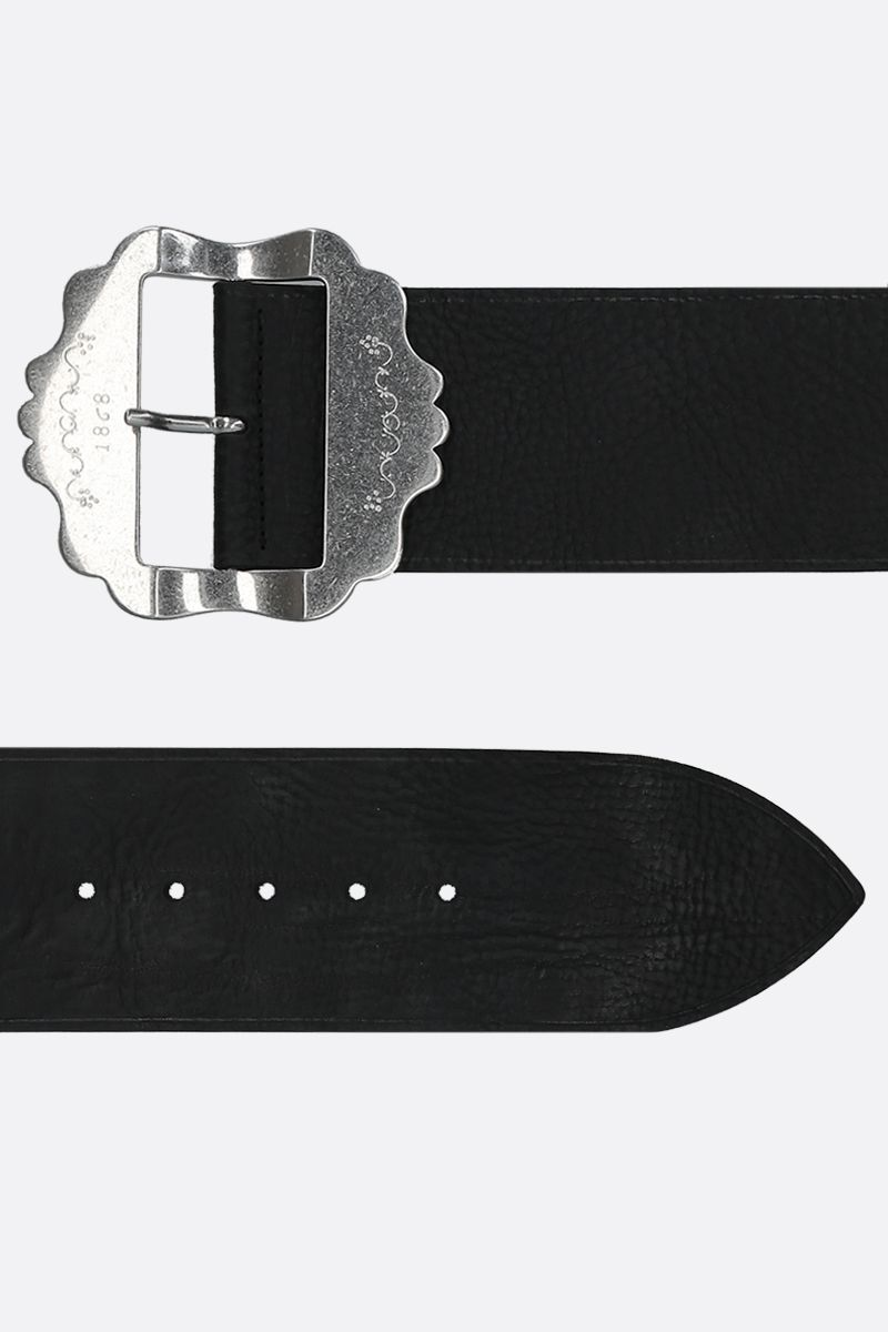 ISABEL MARANT: Awele grainy leather belt Color Black_2