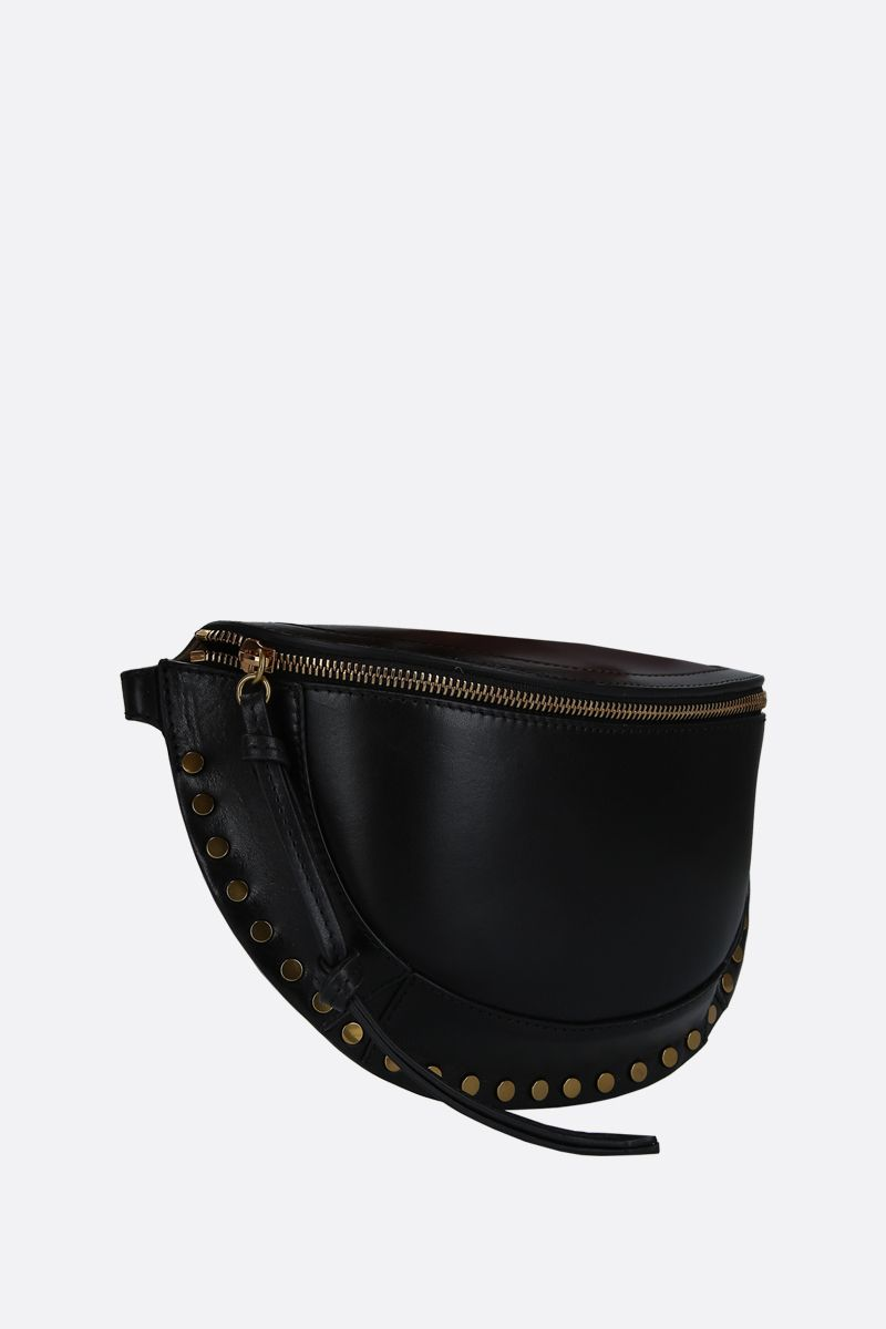 ISABEL MARANT: Skano studded shiny leather belt bag Color Black_2