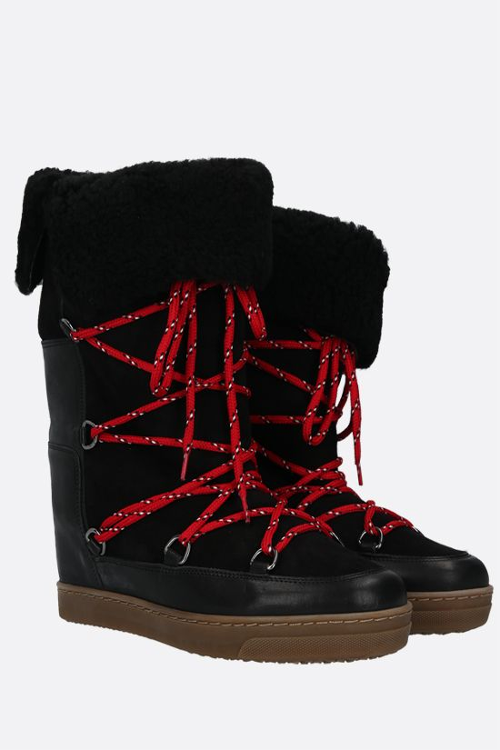 ISABEL MARANT: Nowly smooth leather and shearling snow boots Color Black_2