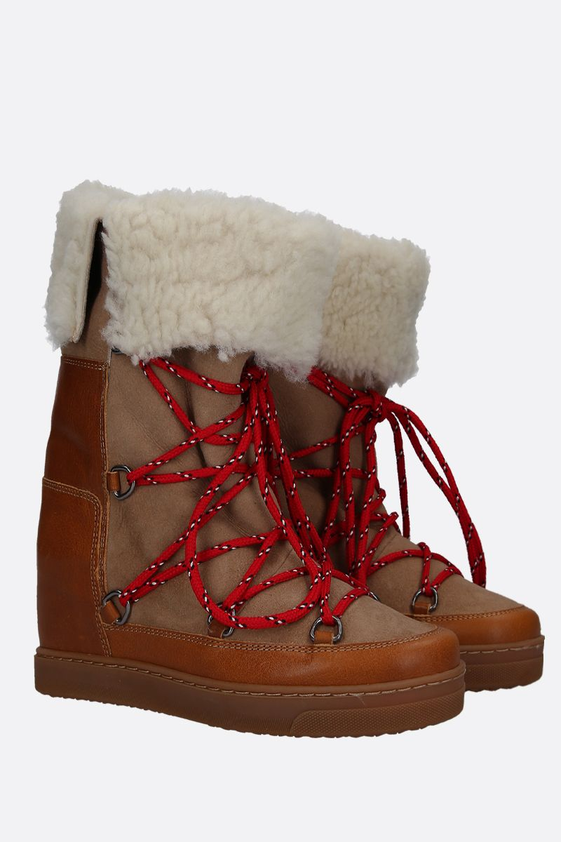 ISABEL MARANT: Nowlsty snow boots in smooth leather and shearling Color Neutral_2