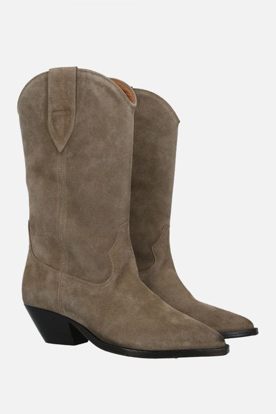 ISABEL MARANT: Duerto velvet suede western boots Color Green_2