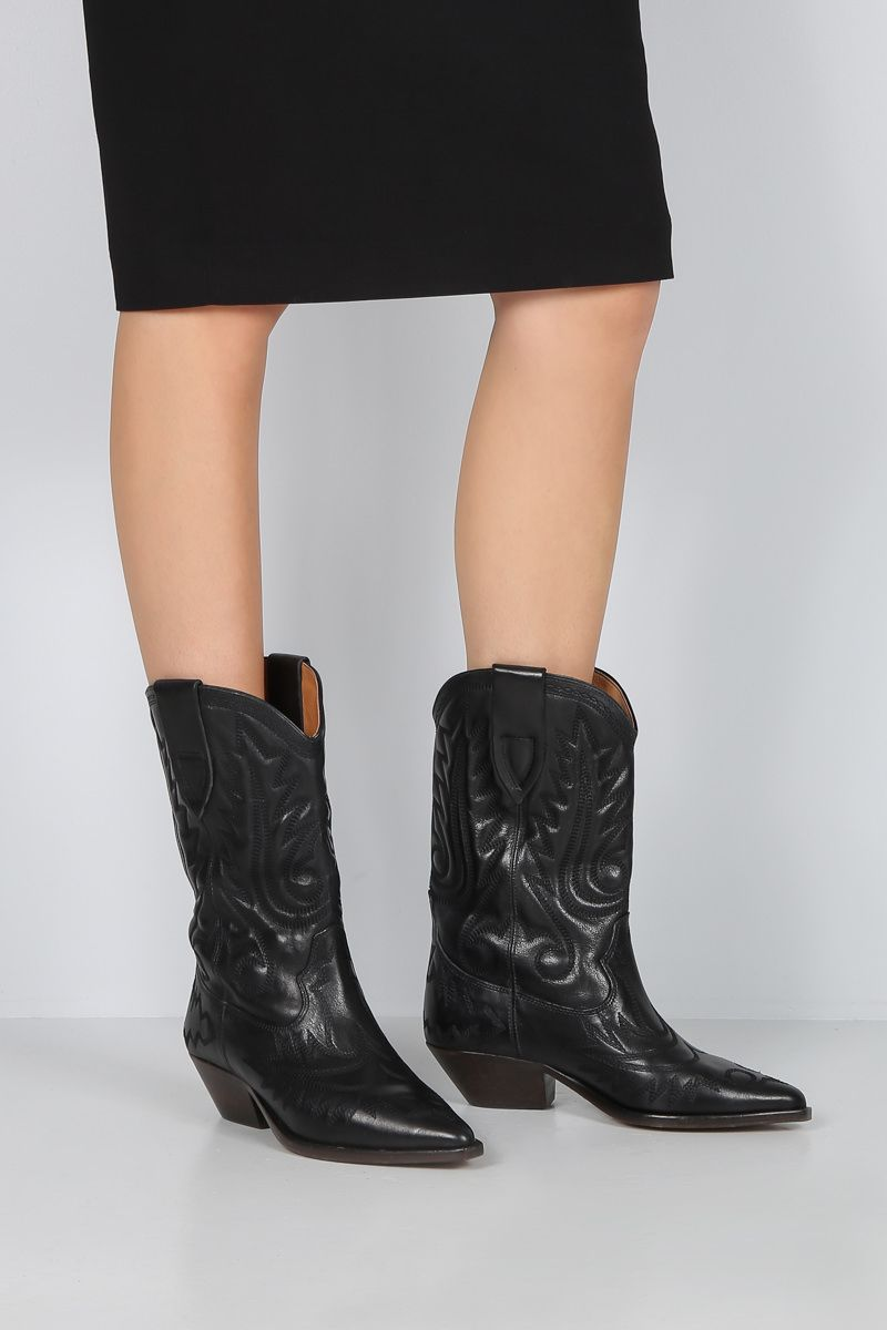 ISABEL MARANT: Duerto western boots in vintage leather Color Black_2