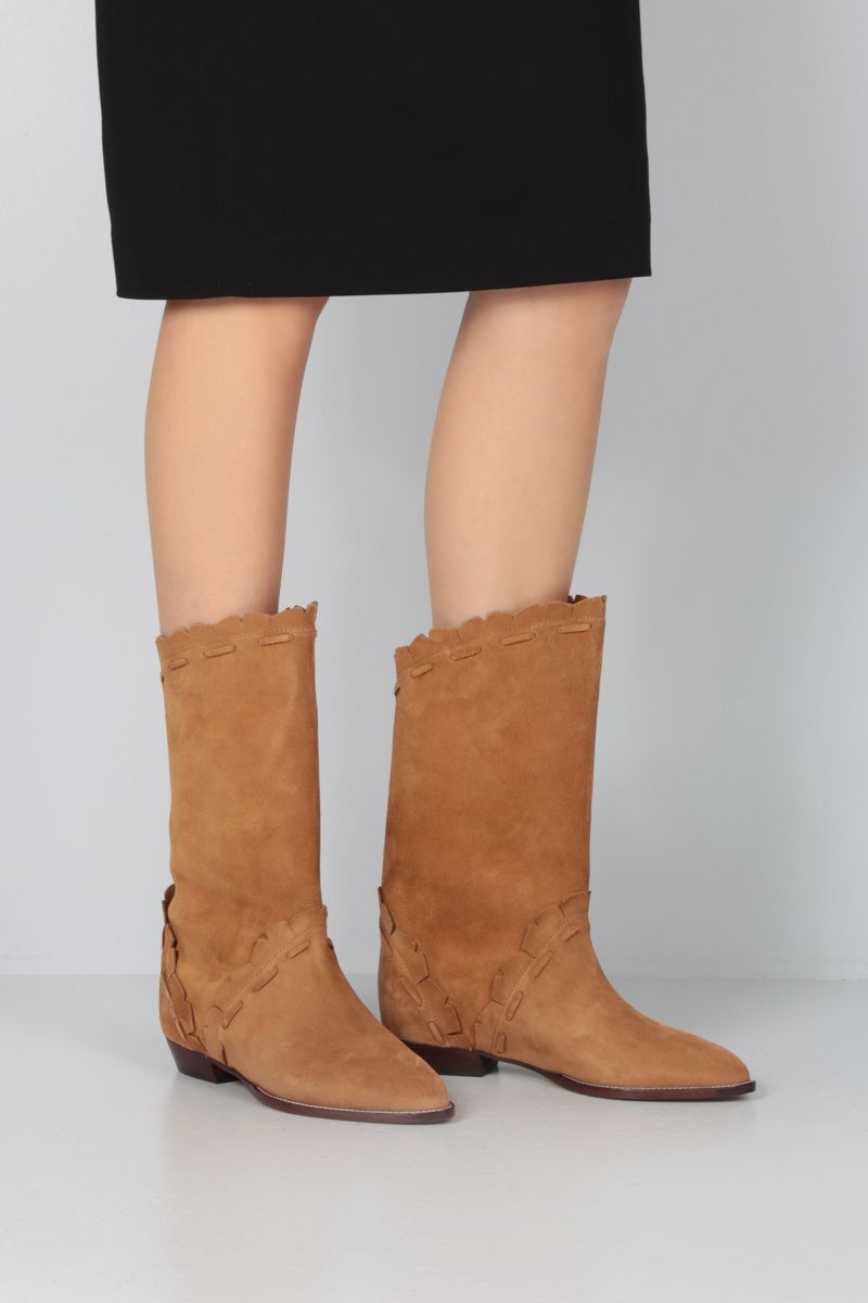ISABEL MARANT: Sezari velvet suede boots Color Neutral_2
