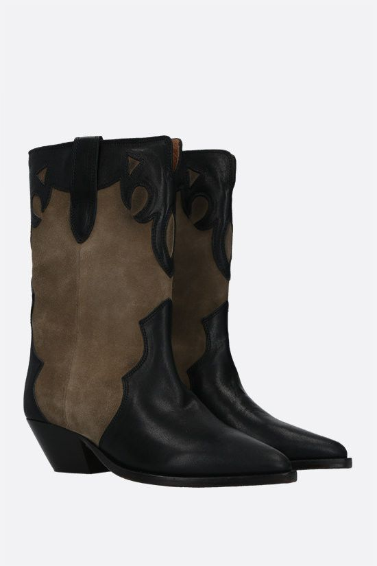 ISABEL MARANT: Duoni smooth leather and suede western boots Color Brown_2