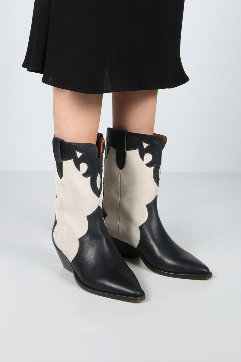 ISABEL MARANT: Duoni smooth leather and suede western boots Color Neutral_2