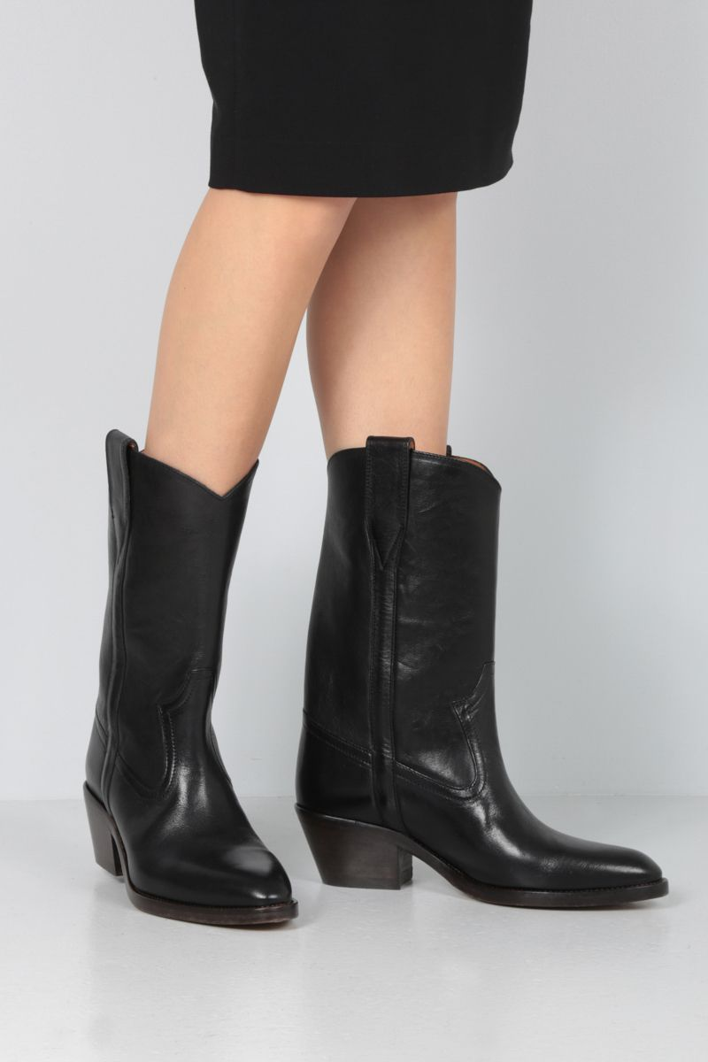 ISABEL MARANT: Danta western boots in smooth leather Color Black_2