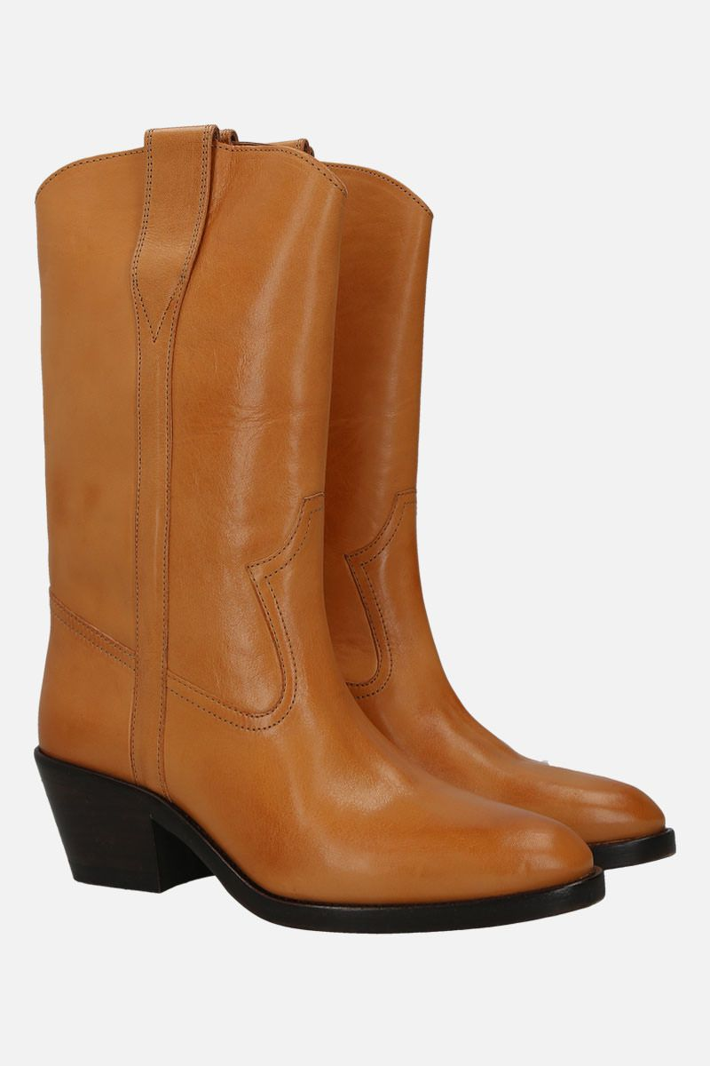 ISABEL MARANT: Danta western boots in smooth leather Color Neutral_2
